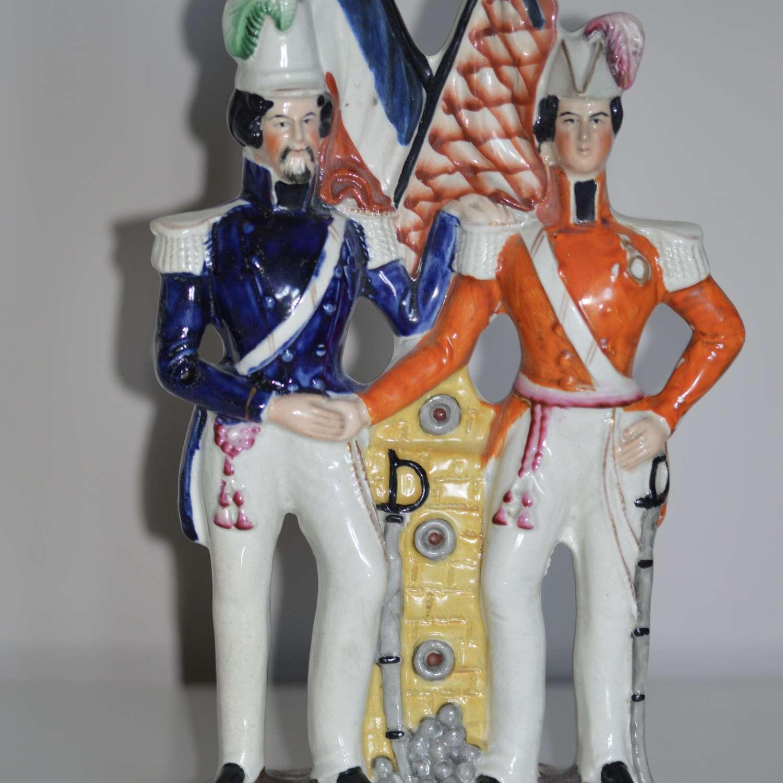 C1860 Staffordshire Crimean War Figure of Prince Albert + Napoleon Bon