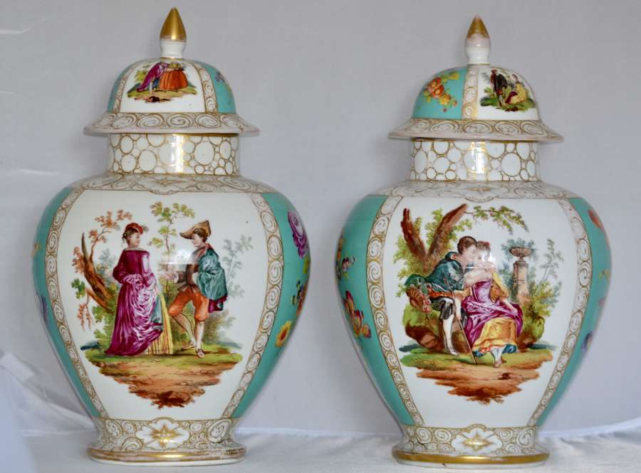 Pair of Late 19th Century Dresden Porcelain Vases