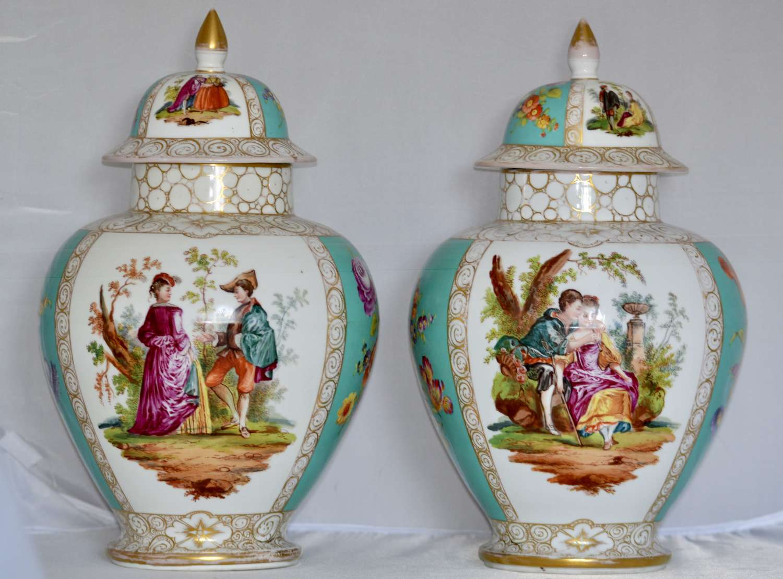 Pair of Late 19th Century Dresden Porcelain Vases
