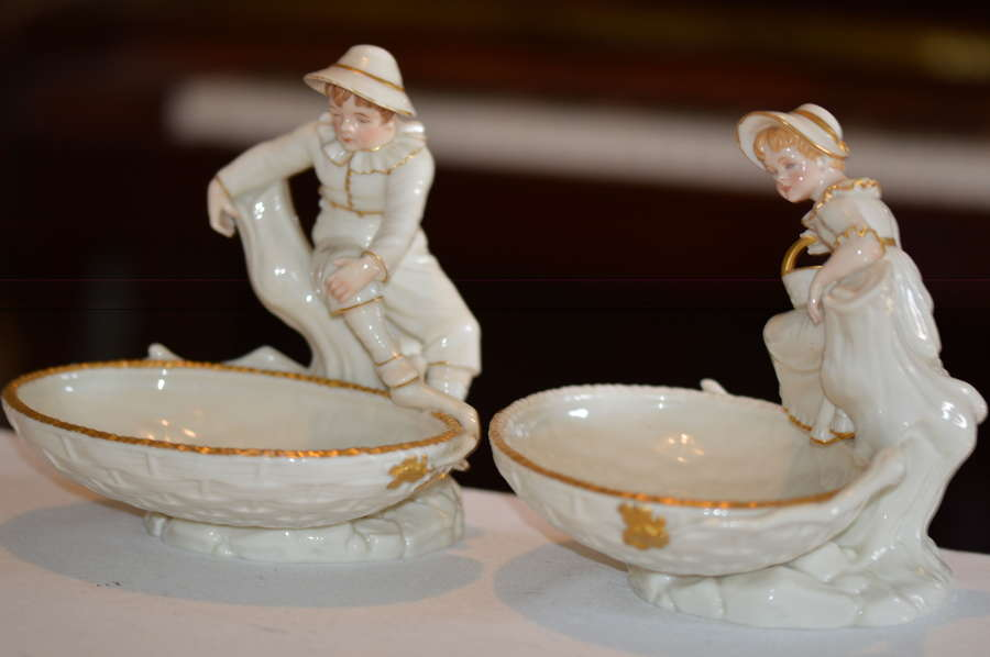 1882 Pair of Royal Worcester Figural Comports in the Hadley Style