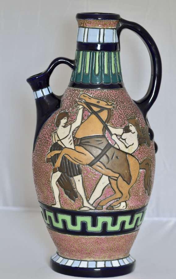 Superb Art Deco Polychrome Amphora Ceramic Pitcher 1920/1949