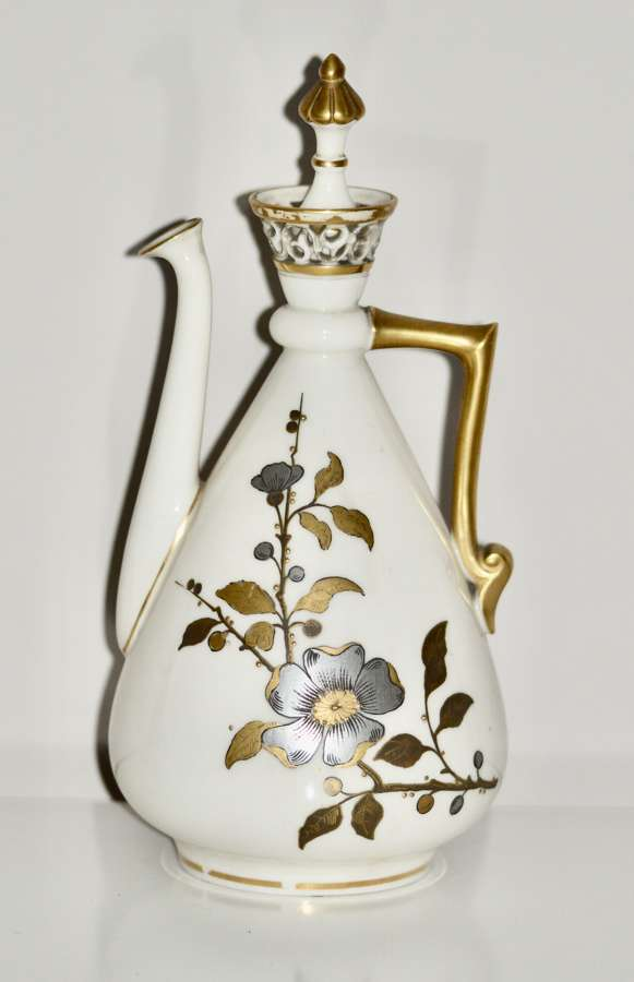 A Royal Worcester 'Old Ivory' Aesthetic Movement Ewer and Cover 1884