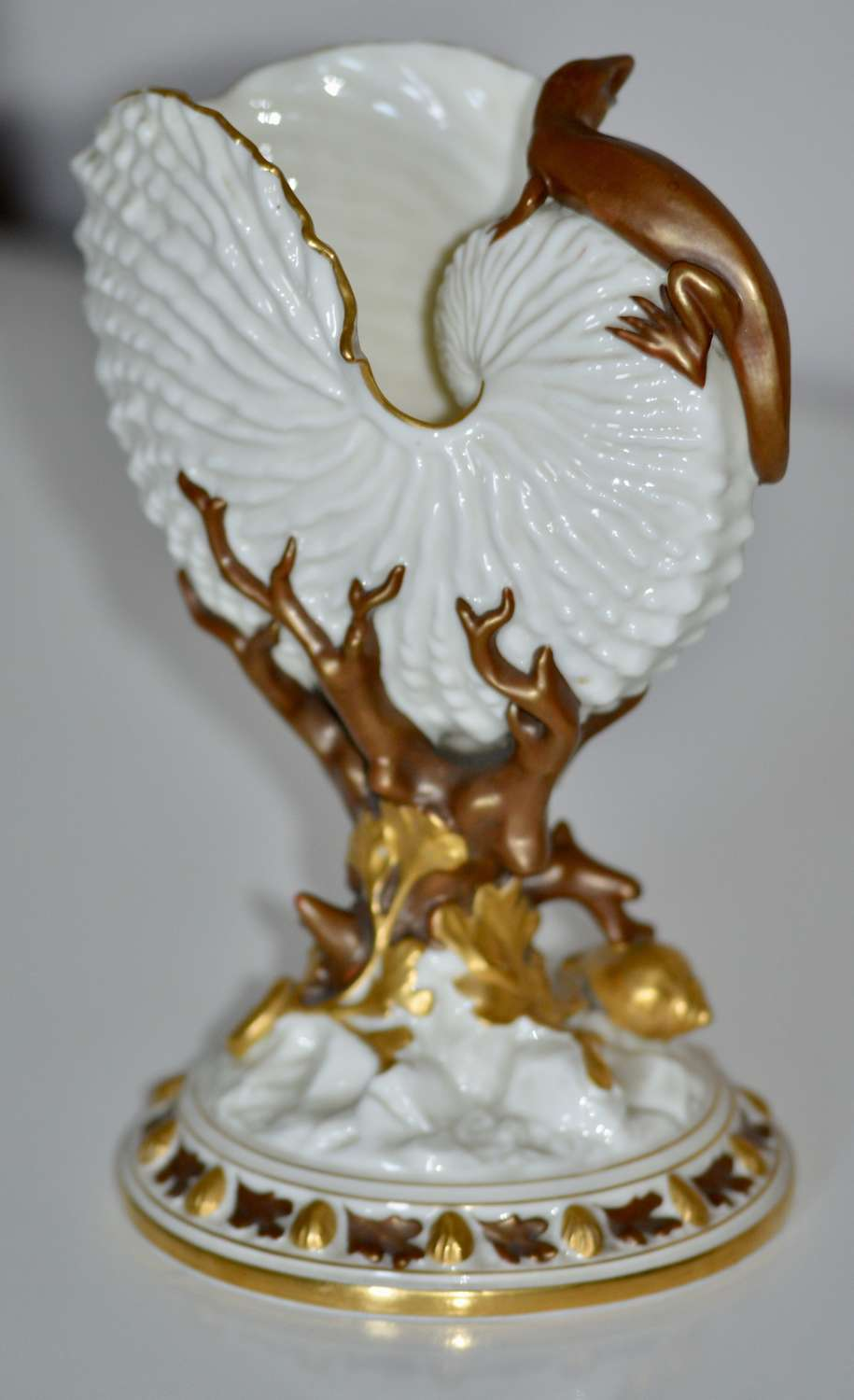 An Exceptional Royal Worcester Vase in the Form of Conch Shell 1883