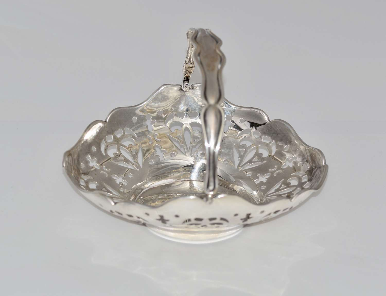 1910 Pierced Silver Swing Handled Sweetmeat Basket by William Neale
