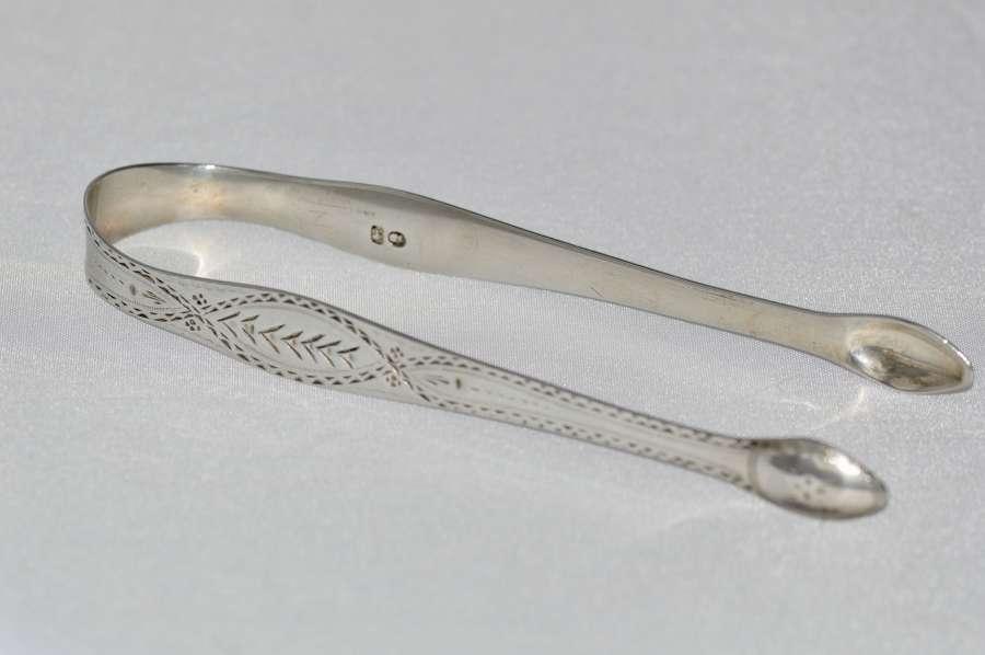 Hester Bateman 18th Century Georgian Bright Cut Silver Tongs