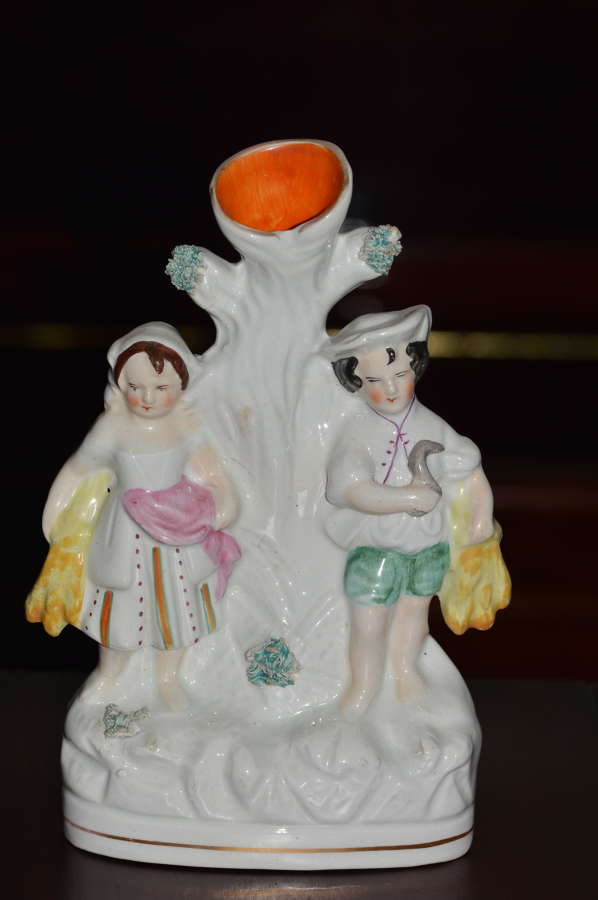 C1860 Victorian Staffordshire Spill Holder - A Young Couple Harvesting