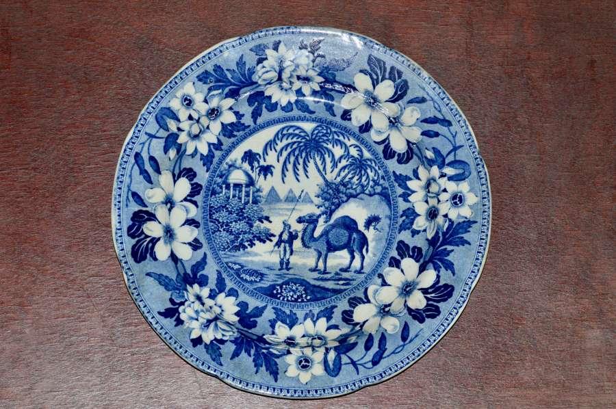 Rare - Riley Dromedary Dessert Plate - c1820's - Blue and White