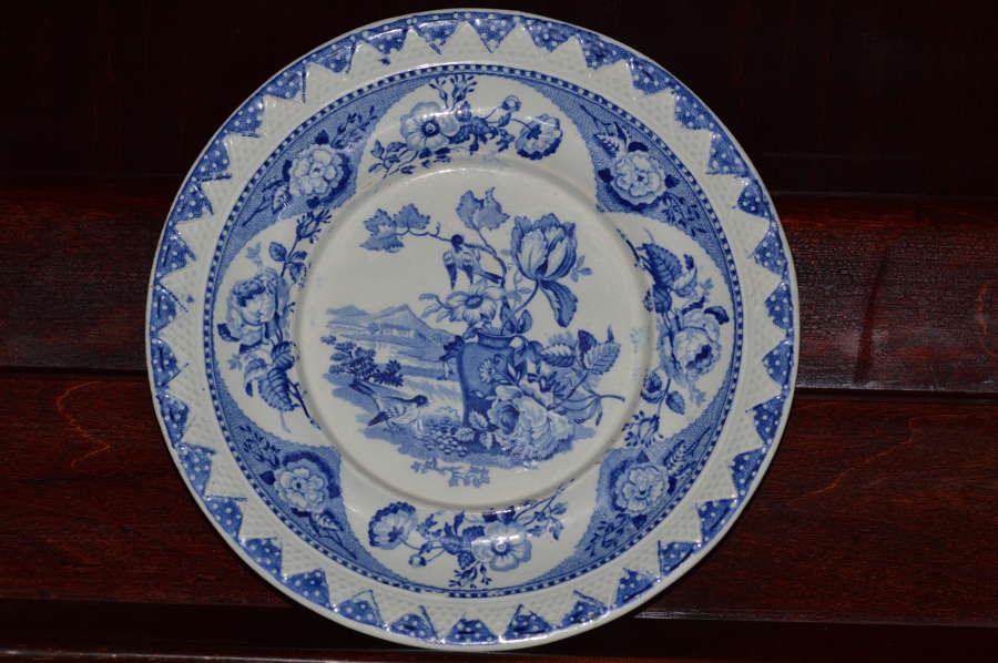 Ridgway India Vase Sauce Tureen Stand. - 1820's - Blue and White