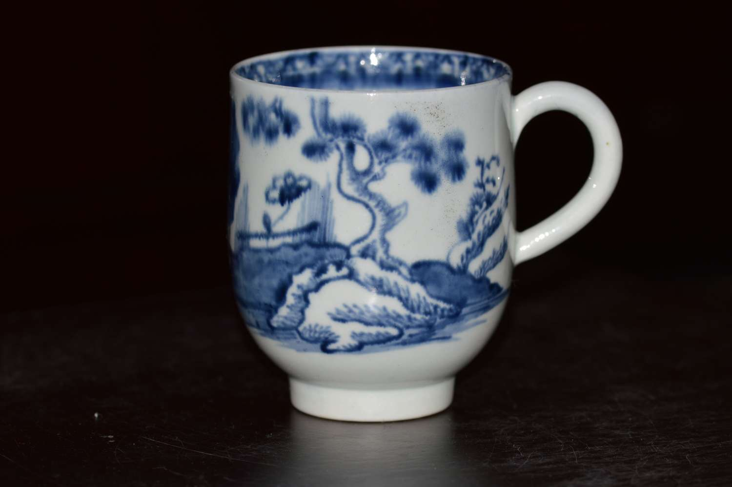 18th Century Liverpool Blue and White Chinoiserie Pattern Tea Cup