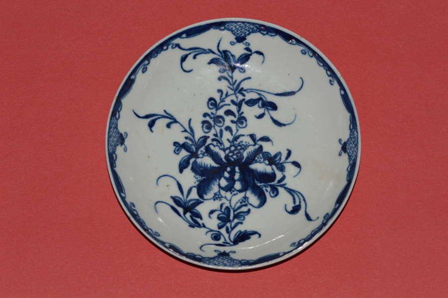 Worcester 1st Period 'Mansfield Pattern' Blue & White Saucer  c1760-80
