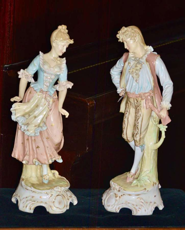 Substantial Pair Of Late 19th Century, Continental Porcelain Figures