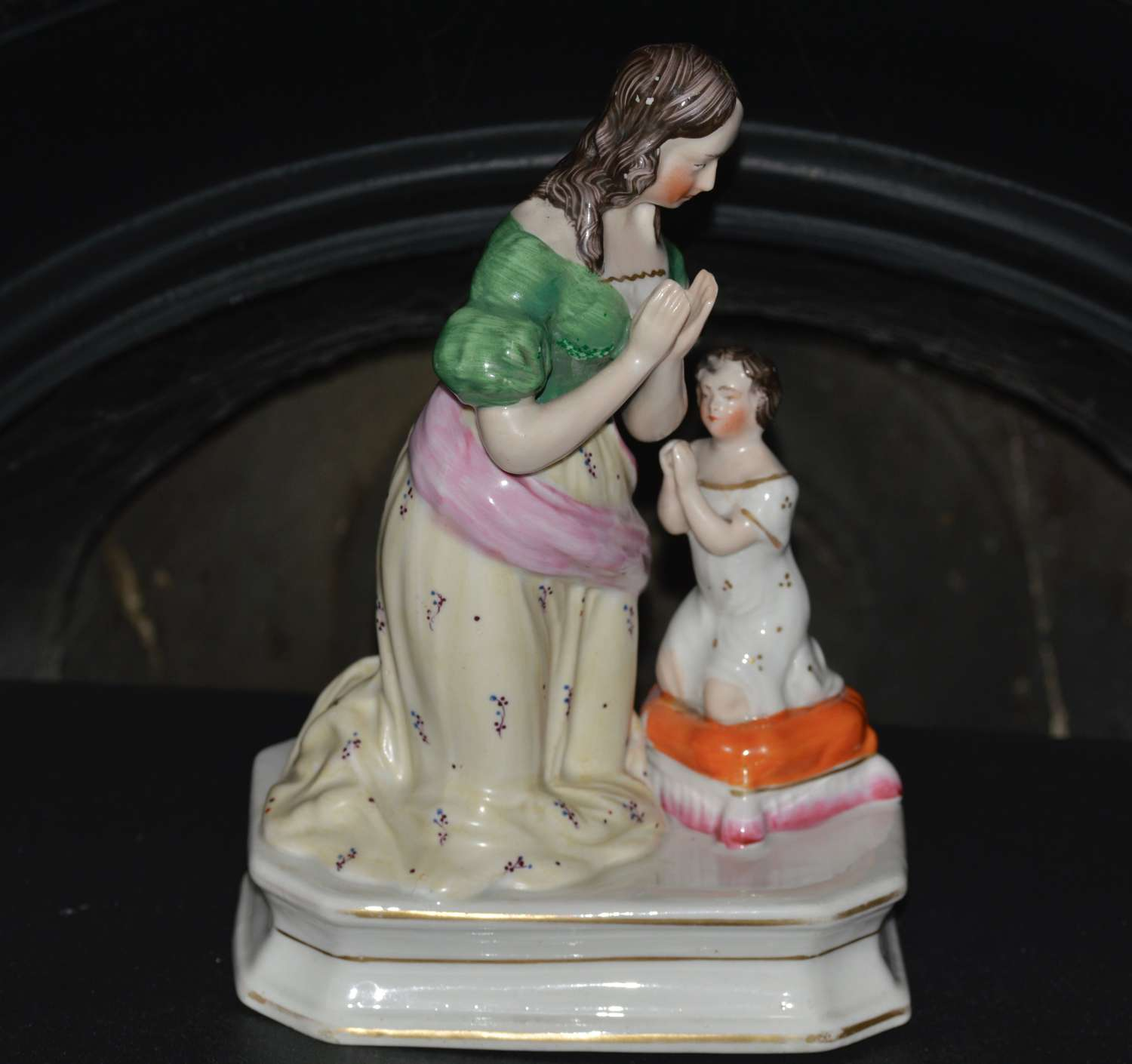 19th Century Staffordshire Figure of a Mother Praying with her Child