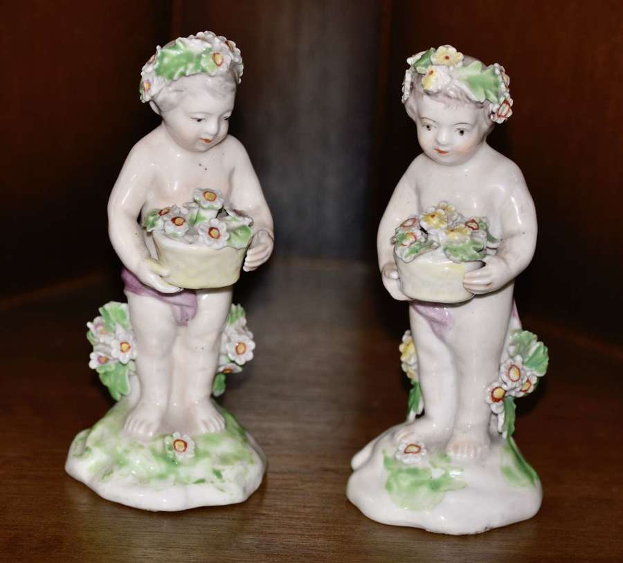 Circa 1780's Pair of Derby Porcelain Putti Cherub Figurines