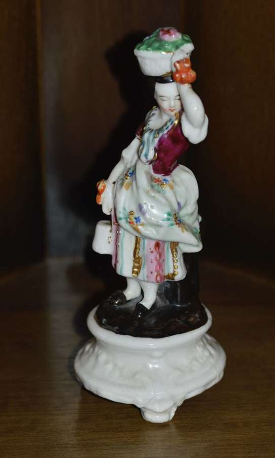 Early 19th Century Hard-Paste Hand-Painted German Porcelain Figurine