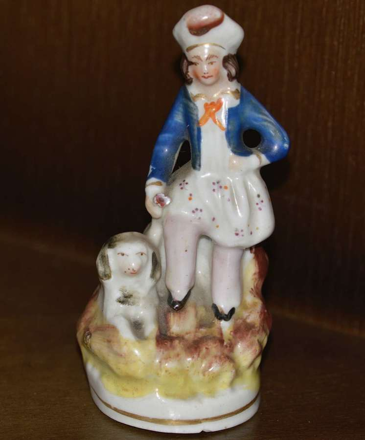 Early Victorian Staffordshire Miniature Figure of a Man with his Dog