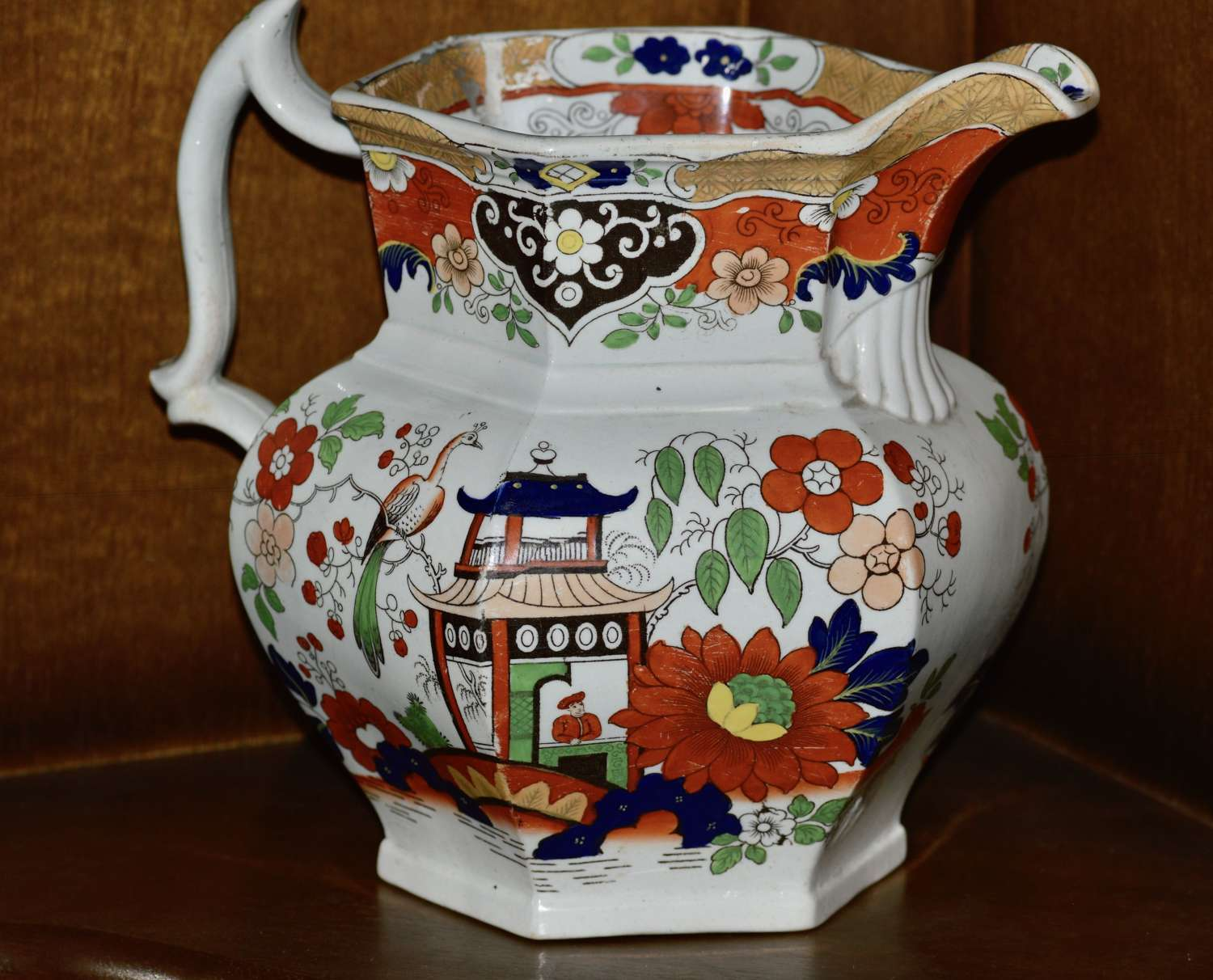 19th Century Real Stone China Jug with Chinoiserie Decoration