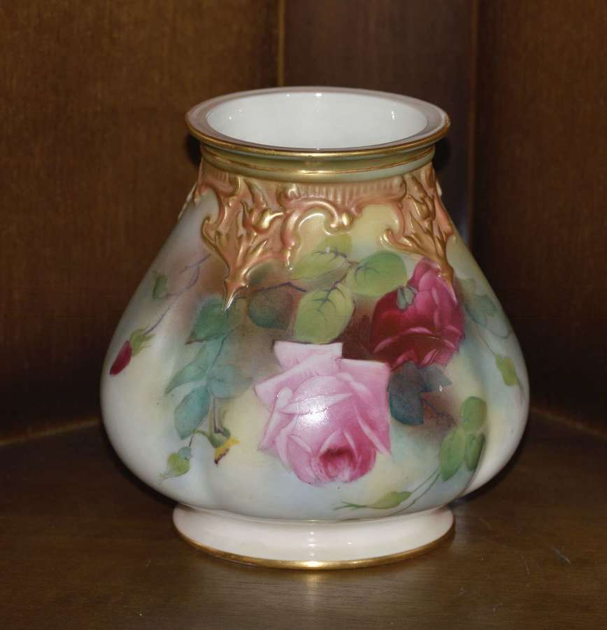 Royal Worcester 1911 Hand Painted Potpourri Vase 'Roses' Without Cover