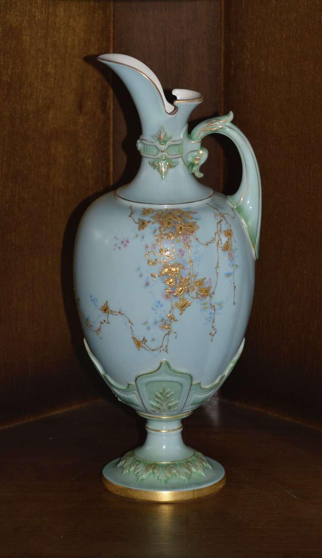 Royal Worcester 1896 Hand Painted 'Robin Eggs Blue' Porcelain Ewer