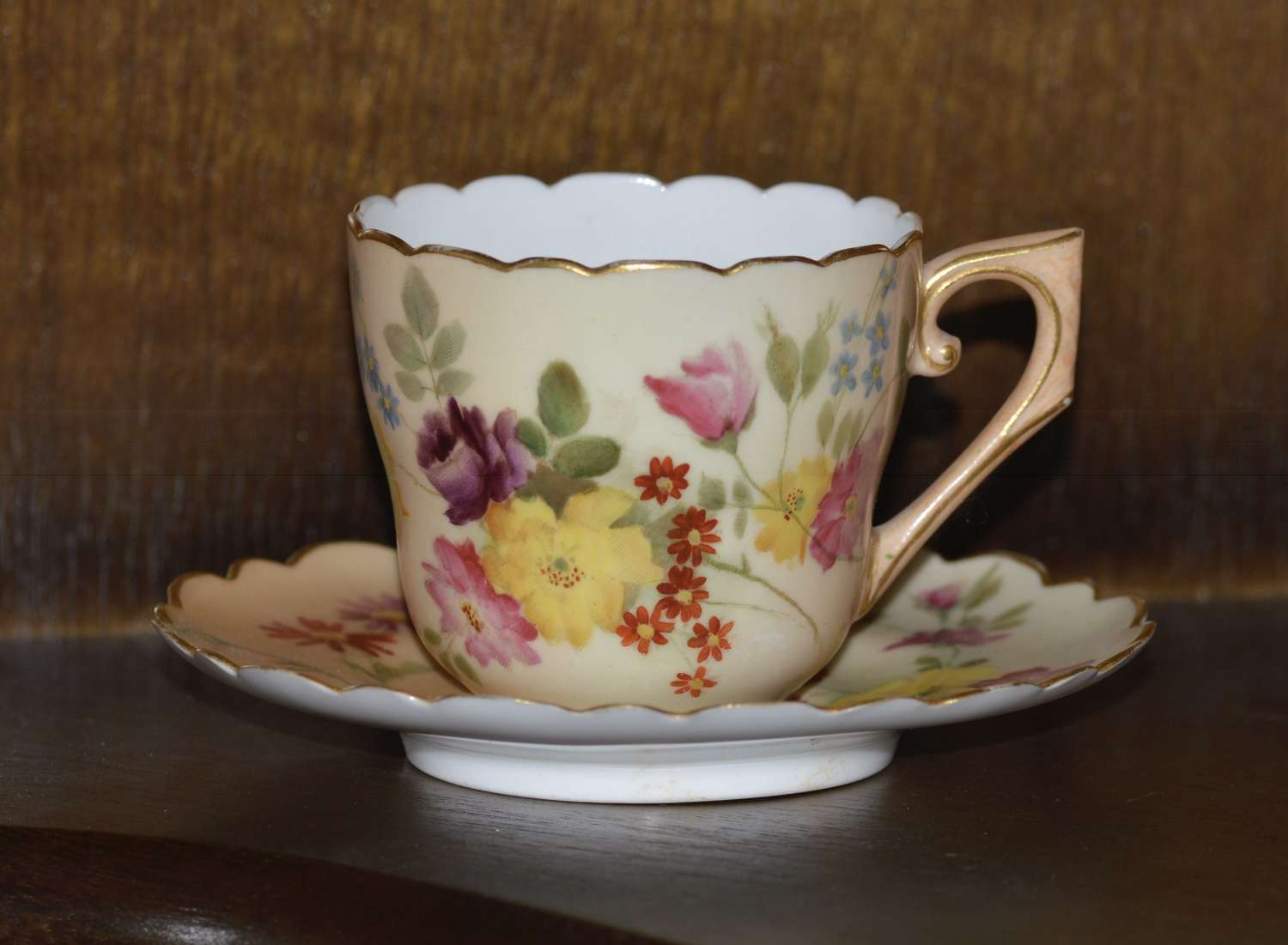 Royal Worcester Hand Painted Blush Ivory Miniature Cup and Saucer 1898