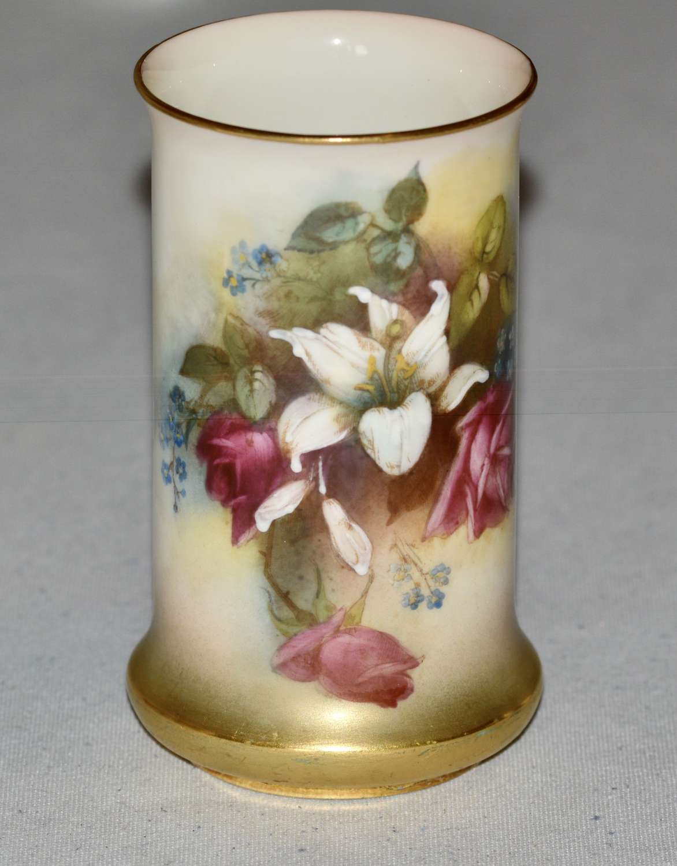 1914 Royal Worcester Hand Painted Floral Spill Vase