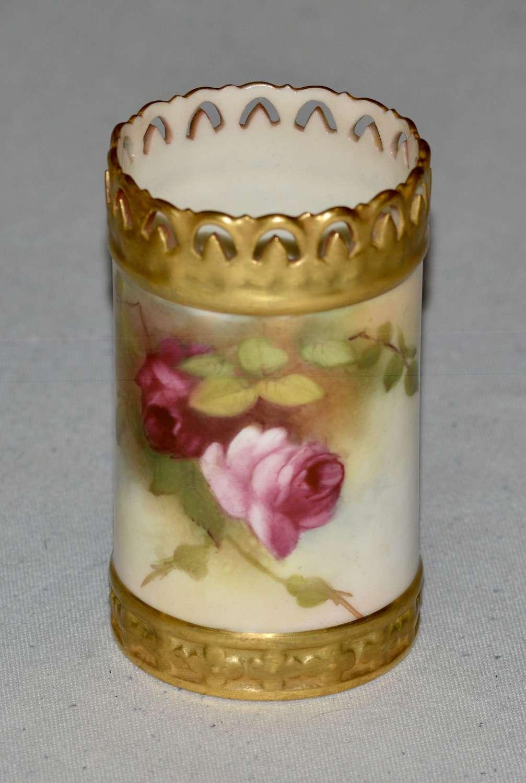 1918 Royal Worcester Cylindrical Floral Vase
