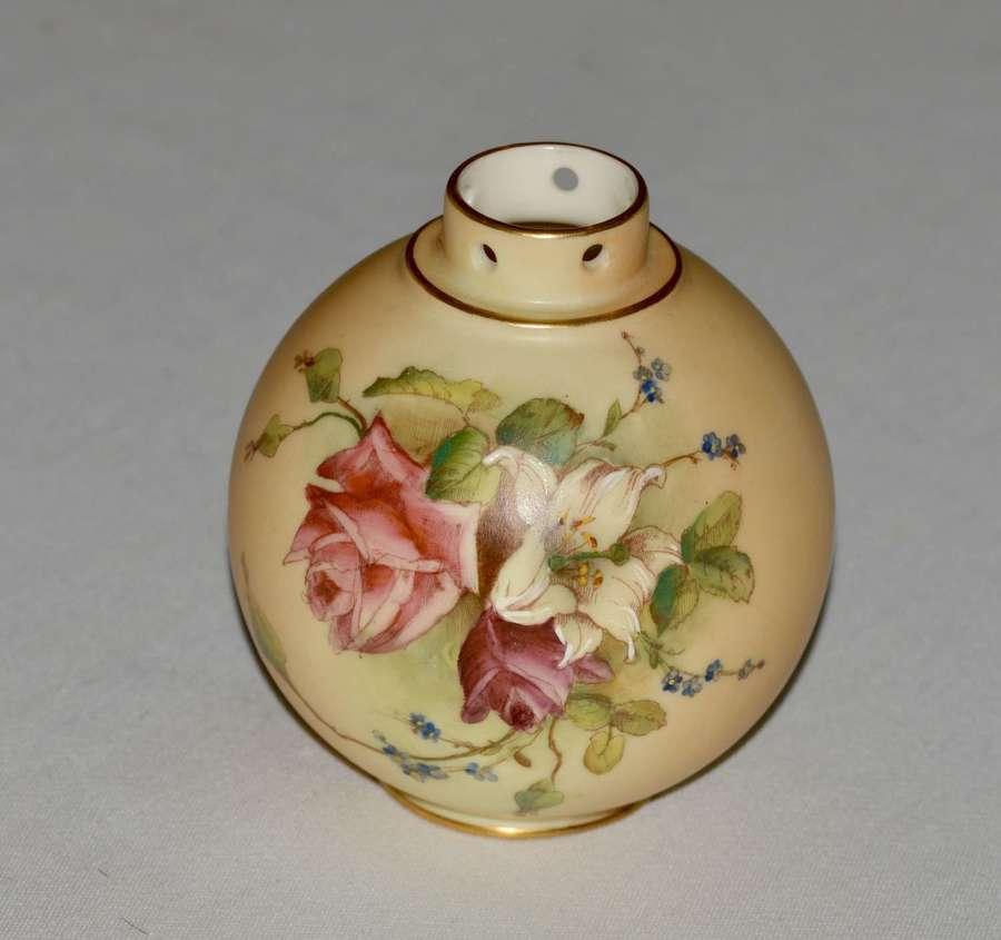 1914 Royal Worcester Globular Shaped Blush Ivory Vase ' Roses '