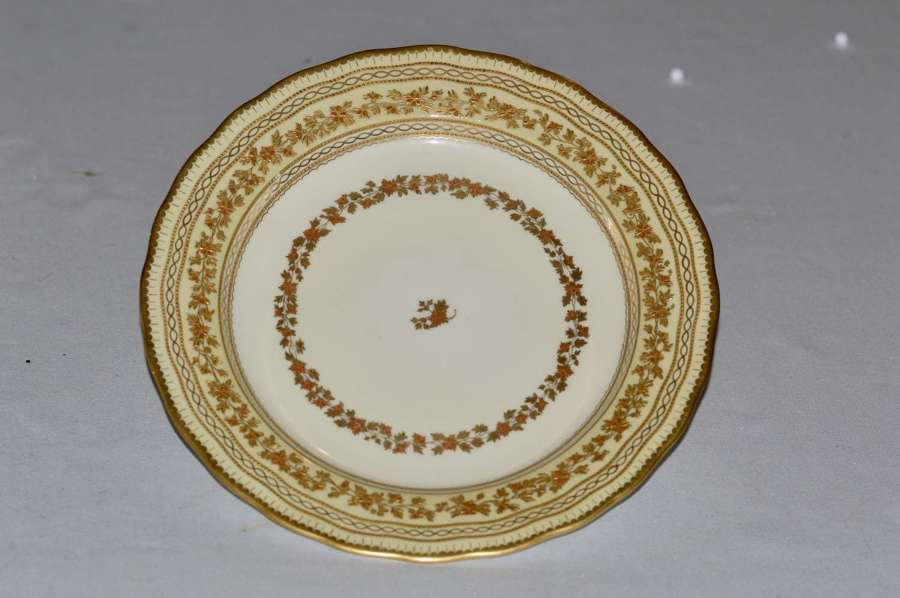 1889 Derby Plate with Gold Running Garland within Pale Yellow Borders