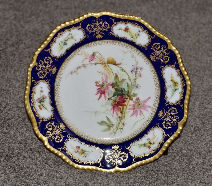 1904 Royal Worcester Plate with Spray Hand Painted Flowers and Snail
