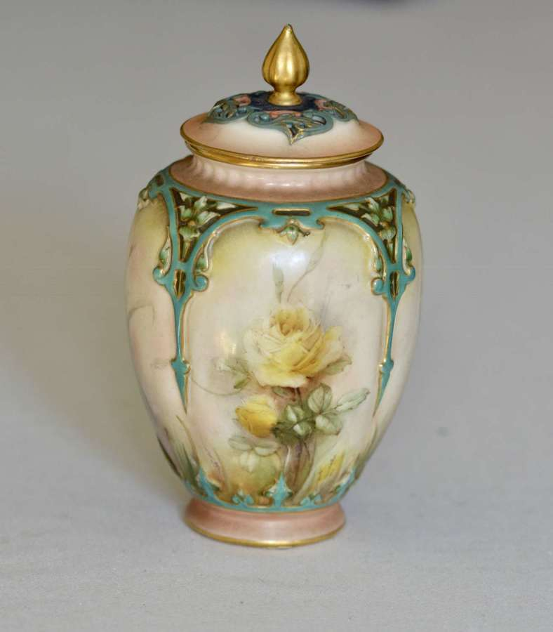 Late 19th Century Hadley Worcester Vase and Cover Painted with Yellow