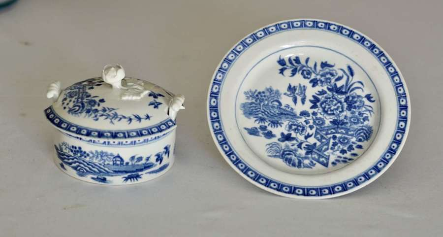 18th Century Dr Wall Worcester Blue Butter Tub, Cover and Stand c1770