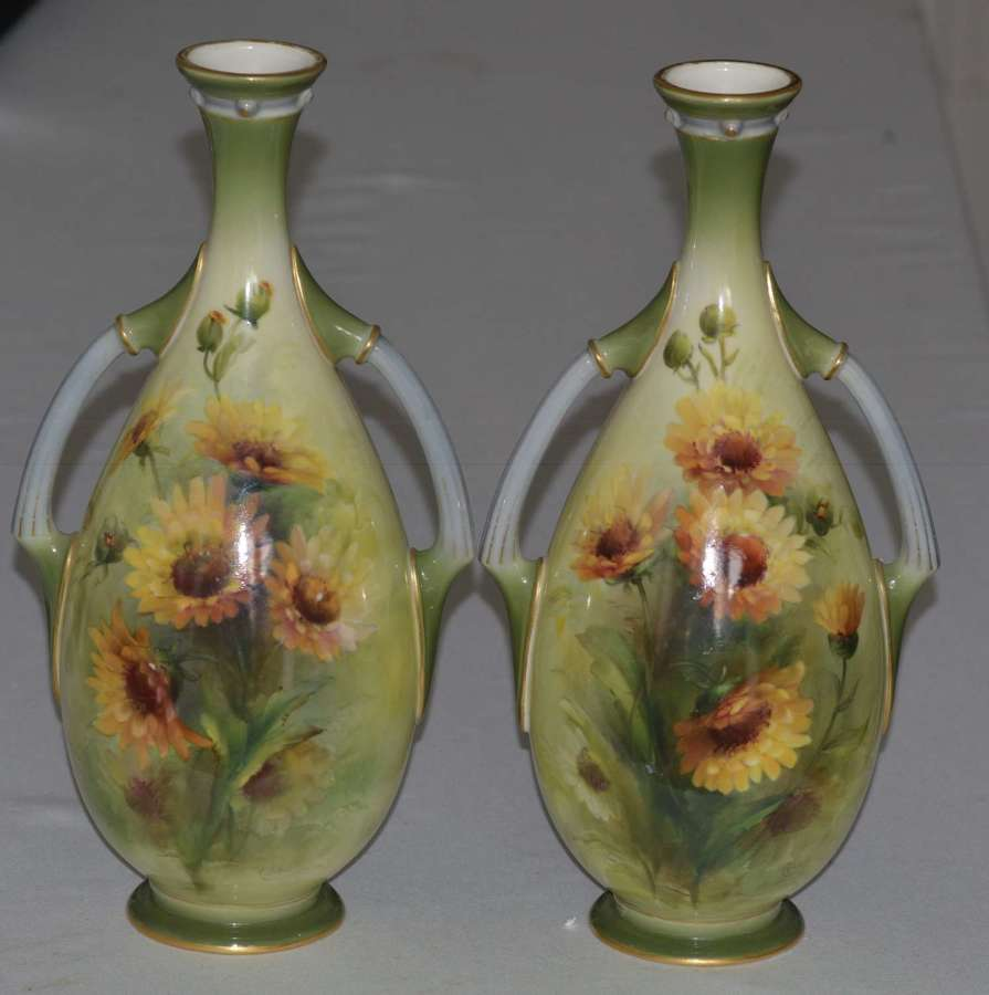 Stunning pair Royal Worcester Two Handled Vases George Cole 1903 +1906