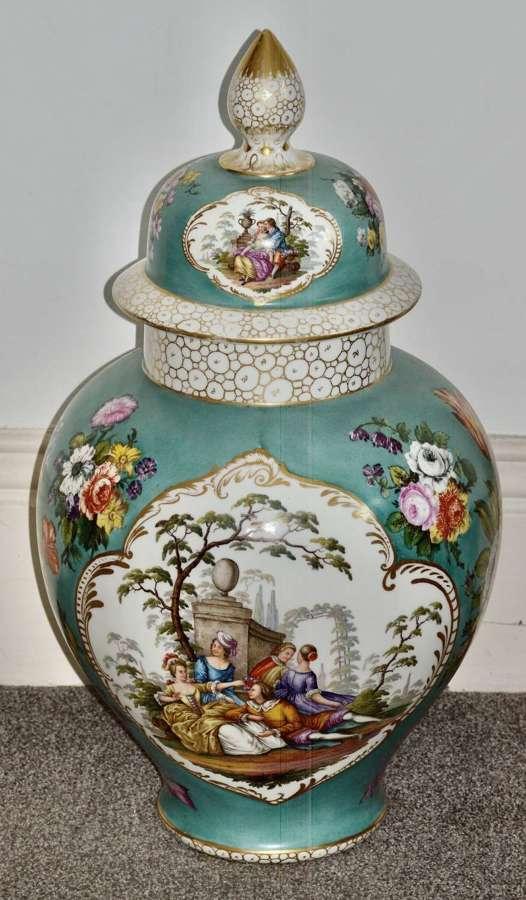 Stunning Very Large Late 19th Century Helena Wolfsohn Dresden Vase + C