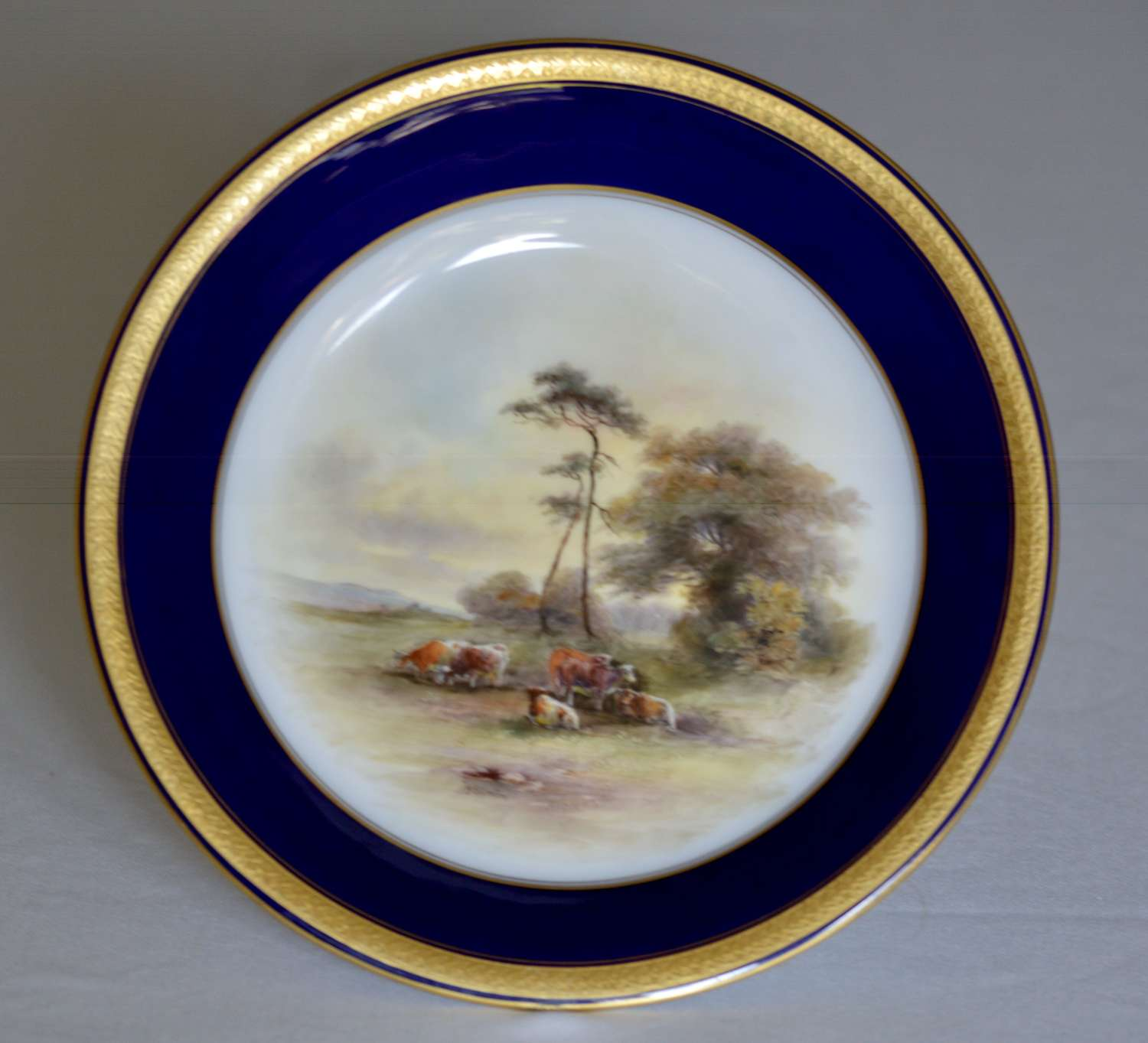 Royal Worcester Dish 1914 Hand-Painted Lowland Cattle by John Stinton