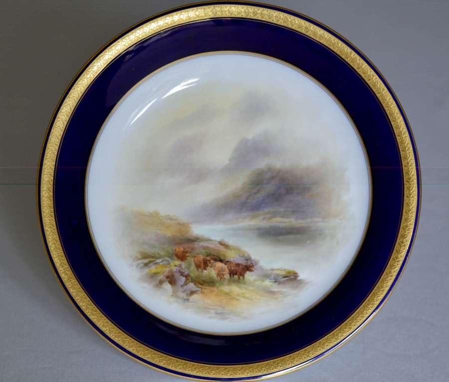 Royal Worcester 1914 Dish Highland Cattle Hand-Painted by John Stinton