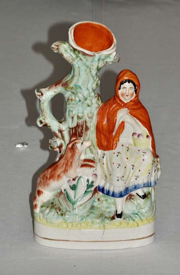 A Large Victorian Staffordshire Spill Vase - Little Red Riding Hood